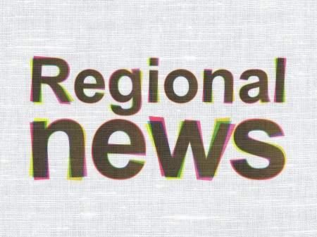 News concept: CMYK Regional News on linen fabric texture background, 3d render photo