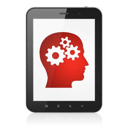 Education concept: black tablet pc computer with Head With Gears icon on display. Modern portable touch pad on White background, 3d render photo