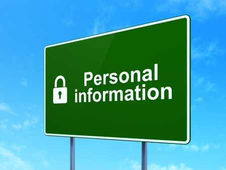 Privacy concept: Personal Information and Closed Padlock icon on green road (highway) sign, clear blue sky background, 3d render photo