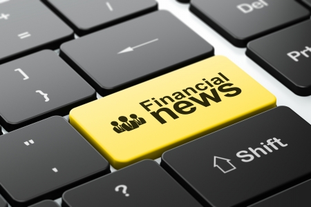 News concept: computer keyboard with Business People icon and word Financial News, selected focus on enter button, 3d render photo