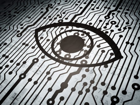 Safety concept: circuit board with  Eye icon, 3d render photo