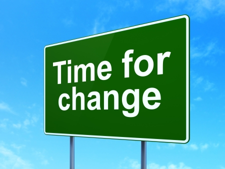 Time concept: Time for Change on green road (highway) sign, clear blue sky background, 3d render photo