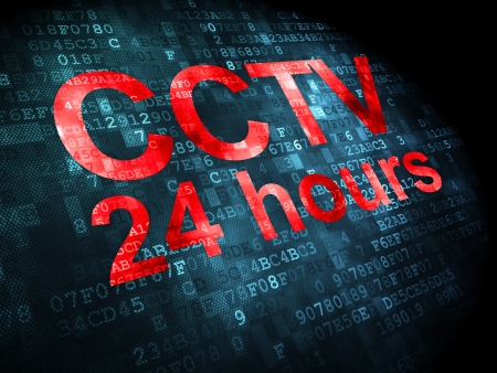 Protection concept: pixelated words CCTV 24 hours on digital background, 3d render photo