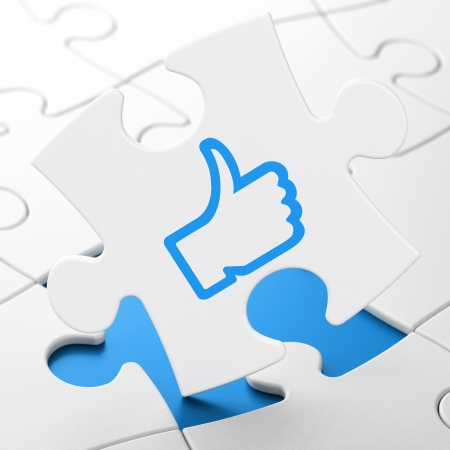 Social network concept: Like on White puzzle pieces background, 3d render Stock Photo - 23349884