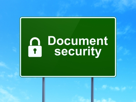Protection concept: Document Security and Closed Padlock icon on green road (highway) sign, clear blue sky background, 3d render photo