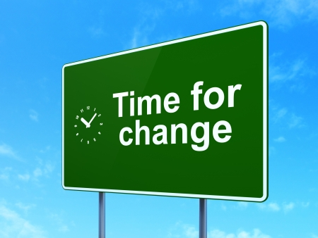 Timeline concept: Time for Change and Clock icon on green road (highway) sign, clear blue sky background, 3d render photo