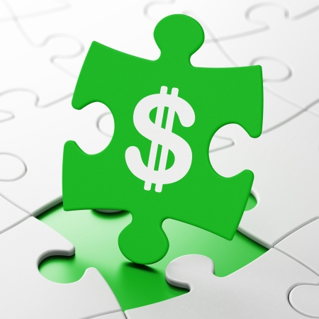 Currency concept: Dollar on Green puzzle pieces background, 3d render photo
