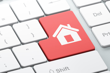 Privacy concept: Enter button with Home on computer keyboard background, 3d render photo