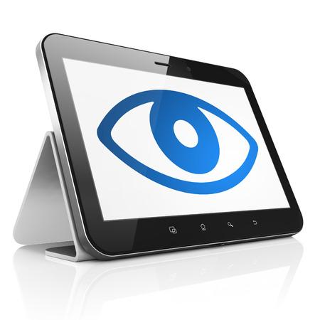 Concepto de seguridad: la tableta de ordenador PC negro con el icono del ojo en la pantalla. Superficie t�ctil port�til moderno en el fondo blanco, 3d