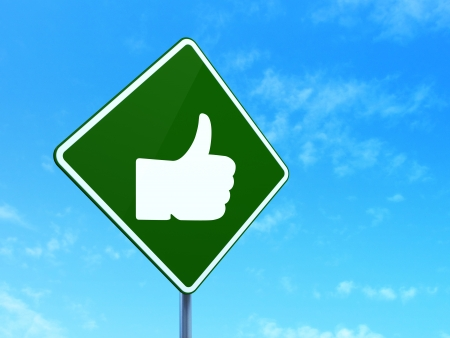 Social media concept: Like on green road (highway) sign, clear blue sky background, 3d render photo