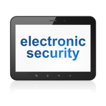 Privacy concept: black tablet pc computer with text Electronic Security on display. Modern portable touch pad on White background, 3d render photo