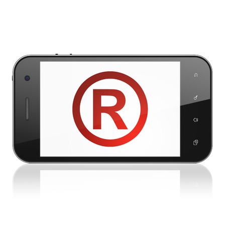 r regulation: Law concept: smartphone with Registered icon on display. Mobile smart phone on White background, cell phone 3d render