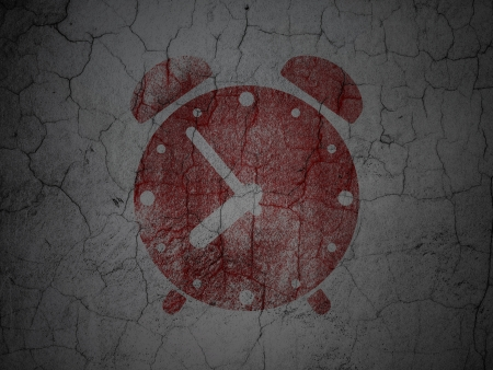 Time concept: Red Alarm Clock on grunge textured concrete wall background, 3d render photo