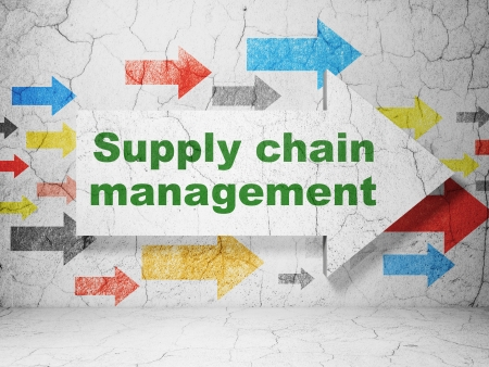 supply chain: Advertising concept:  arrow whis Supply Chain Management on grunge textured concrete wall background, 3d render Stock Photo