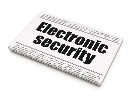 Security news concept: newspaper headline Electronic Security on White background, 3d render photo