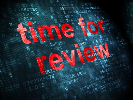 Time concept: pixelated words Time for Review on digital background, 3d render photo