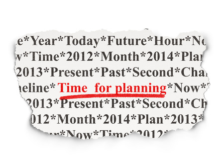 Timeline concept: torn newspaper with words Time for Planning on Paper background, 3d render photo