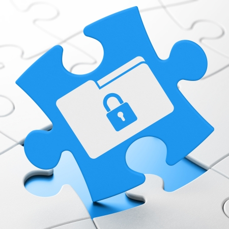 Business concept: Folder With Lock on Blue puzzle pieces background, 3d render photo