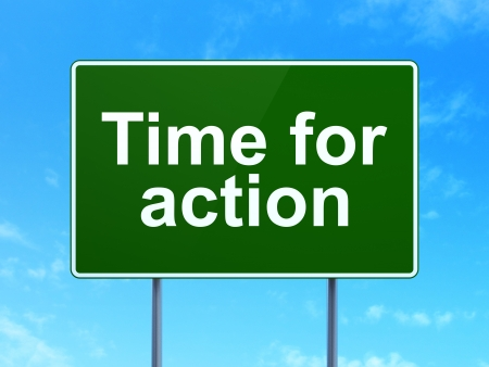 Timeline concept: Time for Action on green road (highway) sign, clear blue sky background, 3d render photo
