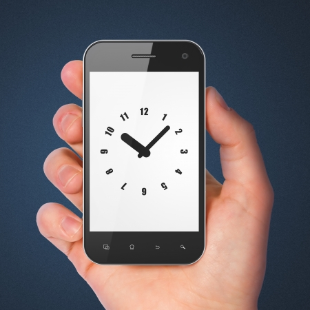 Timeline concept: hand holding smartphone with Clock on display. Mobile smart phone on Blue background, 3d render photo