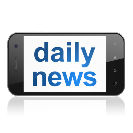 News concept: smartphone with text Daily News on display. Mobile smart phone on White background, cell phone 3d render photo