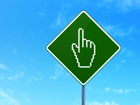 Web development concept: Mouse Cursor on green road (highway) sign, clear blue sky background, 3d render photo