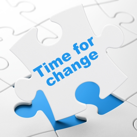 Time concept: Time for Change on White puzzle pieces background, 3d render photo