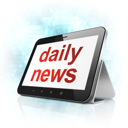 News concept: black tablet pc computer with text Daily News on display. Modern portable touch pad on Blue Digital background, 3d render photo
