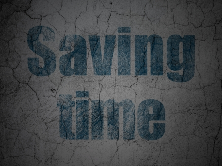 Timeline concept: Blue Saving Time on grunge textured concrete wall background, 3d render photo
