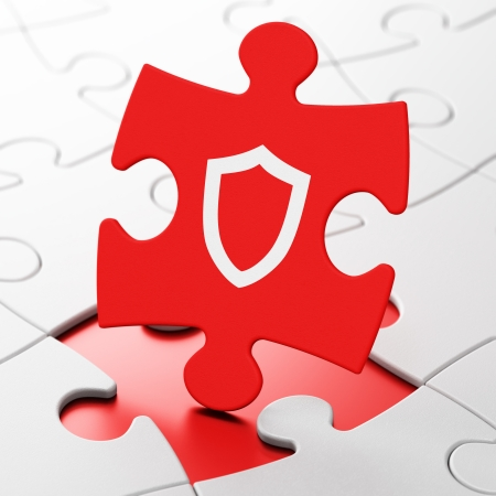 Security concept: Contoured Shield on Red puzzle pieces background, 3d render photo