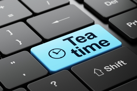 Timeline concept: computer keyboard with Clock icon and word Tea Time, selected focus on enter button, 3d render photo