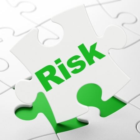 Finance concept: Risk on White puzzle pieces background, 3d render photo