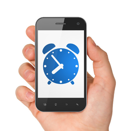 phone time: Time concept: hand holding smartphone with Alarm Clock on display. Mobile smart phone on White background, 3d render
