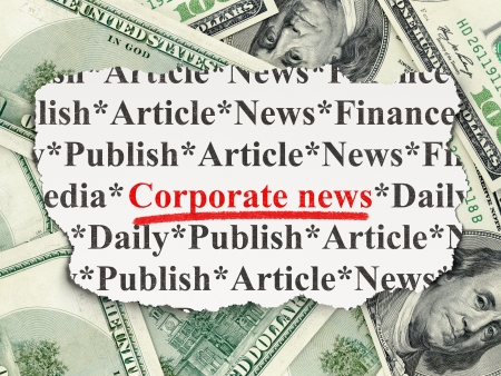 News concept: torn newspaper with words Corporate News on Money background, 3d render photo