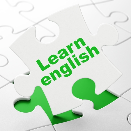 Education concept: Learn English on White puzzle pieces background, 3d render photo