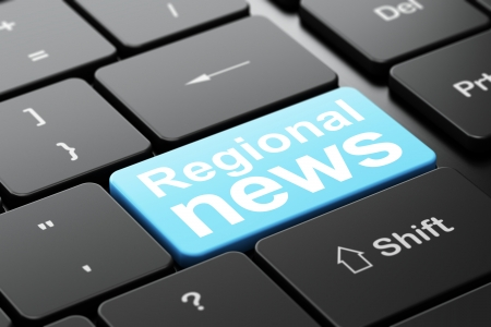 News concept: computer keyboard with word Regional News, selected focus on enter button background, 3d render photo