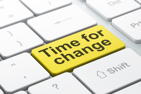 Time concept: computer keyboard with word Time for Change, selected focus on enter button background, 3d render