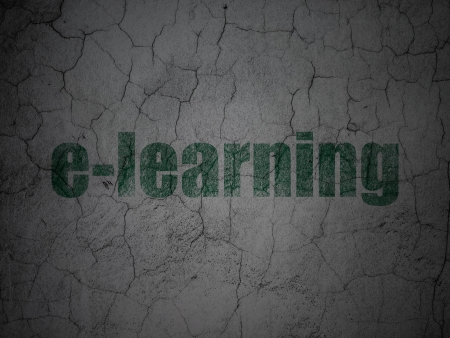 elearn: Education concept: Green E-learning on grunge textured concrete wall background, 3d render Stock Photo