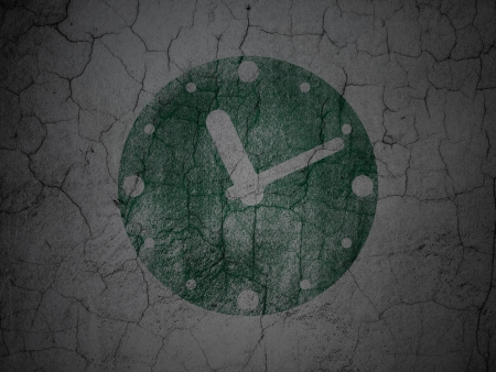 Timeline concept: Green Clock on grunge textured concrete wall background, 3d render photo