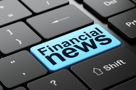 News concept: computer keyboard with word Financial News, selected focus on enter button background, 3d render photo