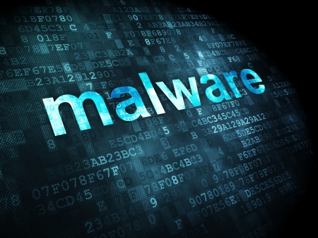 Privacy concept: pixelated words Malware on digital background, 3d render Stock Photo