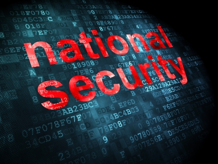 Privacy concept: pixelated words National Security on digital background, 3d render photo