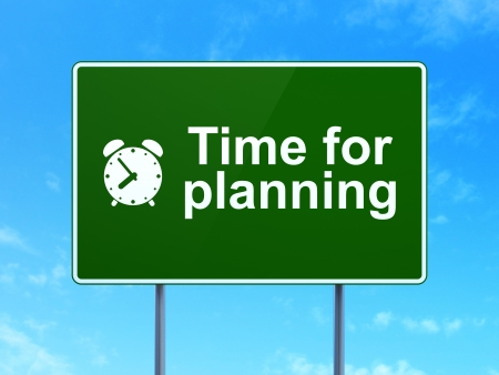 Timeline concept: Time for Planning and Alarm Clock icon on green road (highway) sign, clear blue sky background, 3d render photo