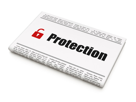 Protection news concept: newspaper headline Protection and Opened Padlock icon on White background, 3d render photo