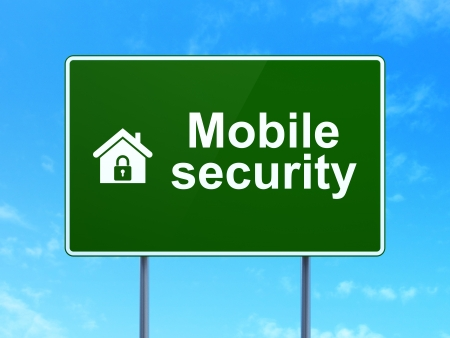 Protection concept: Mobile Security and Home icon on green road (highway) sign, clear blue sky background, 3d render photo