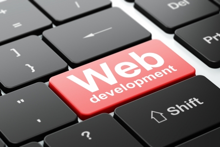 Web development concept: computer keyboard with word Web Development, selected focus on enter button background, 3d render photo