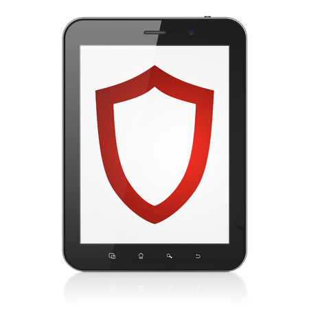 Safety concept: black tablet pc computer with Contoured Shield icon on display. Modern portable touch pad on White background, 3d render photo