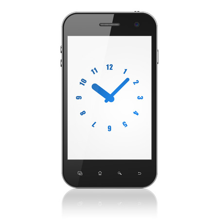 Time concept: smartphone with Clock icon on display. Mobile smart phone on White background, cell phone 3d render photo