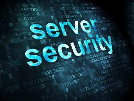 virus informatico: Concepto de seguridad: pixelada palabras Server Security en el fondo digital, 3d