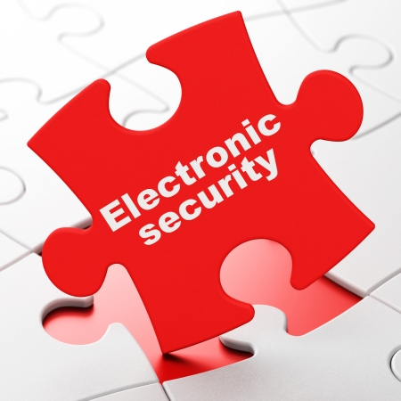 Safety concept: Electronic Security on Red puzzle pieces background, 3d render photo